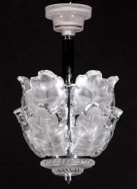 A LALIQUE 'CHENE' FRENCH CRYSTAL CHANDELIER
