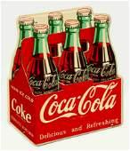 A RARE COCA-COLA SIX PACK TIN SIGN CIRCA 1951