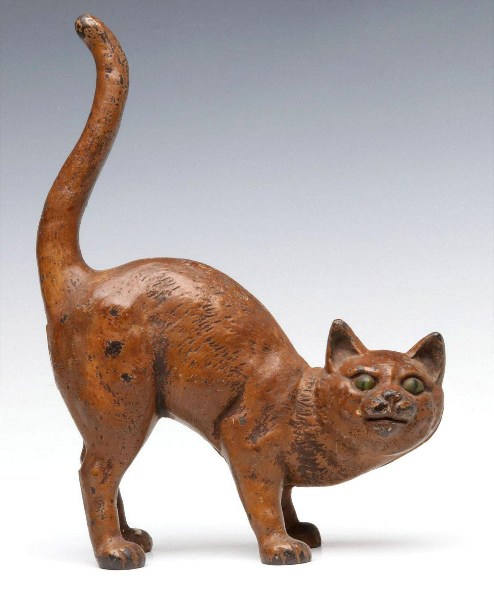 A HUBLEY GREEN-EYED CAT CAST IRON DOORSTOP NO. 216