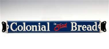 A PORCELAIN ENAMEL COLONIAL BREAD ADVERTISING DOOR PUSH