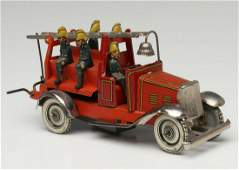 A KELLERMAN LITHOGRAPHED TIN FIRE TRUCK PENNY TOY
