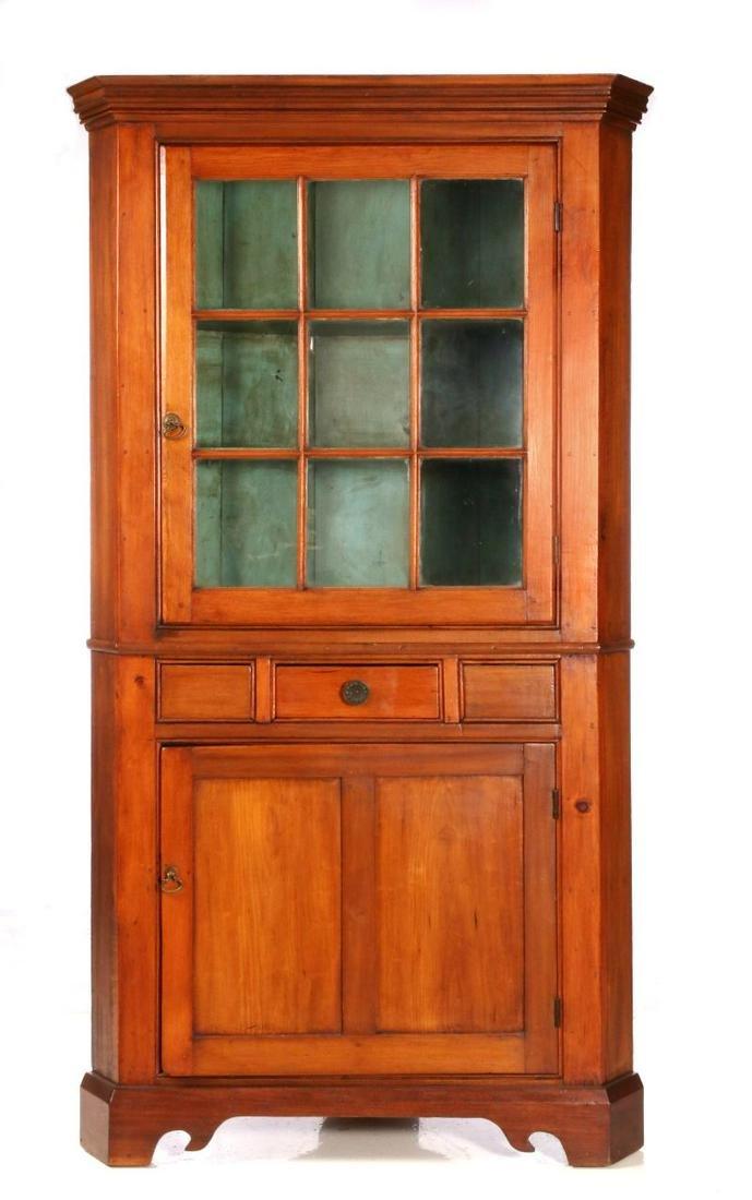 A 19th C American Corner Cabinet With Nine Pane Door Oct 26