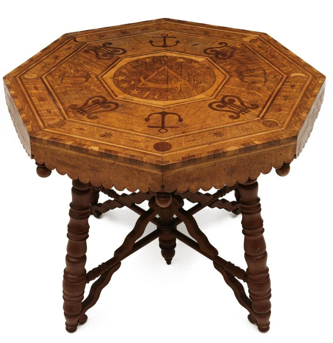 A FOLK ART TABLE ATTR TO INMATE WILLIAM HARVEY C. 1900