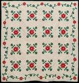 A GOOD UNWASHED RED AND GREEN APPLIQUE ANTIQUE QUILT