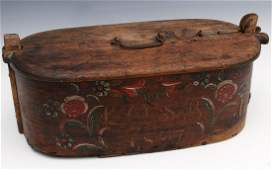 A SCANDINAVIAN BRIDES BOX WITH PAINTED FLORALS 1897