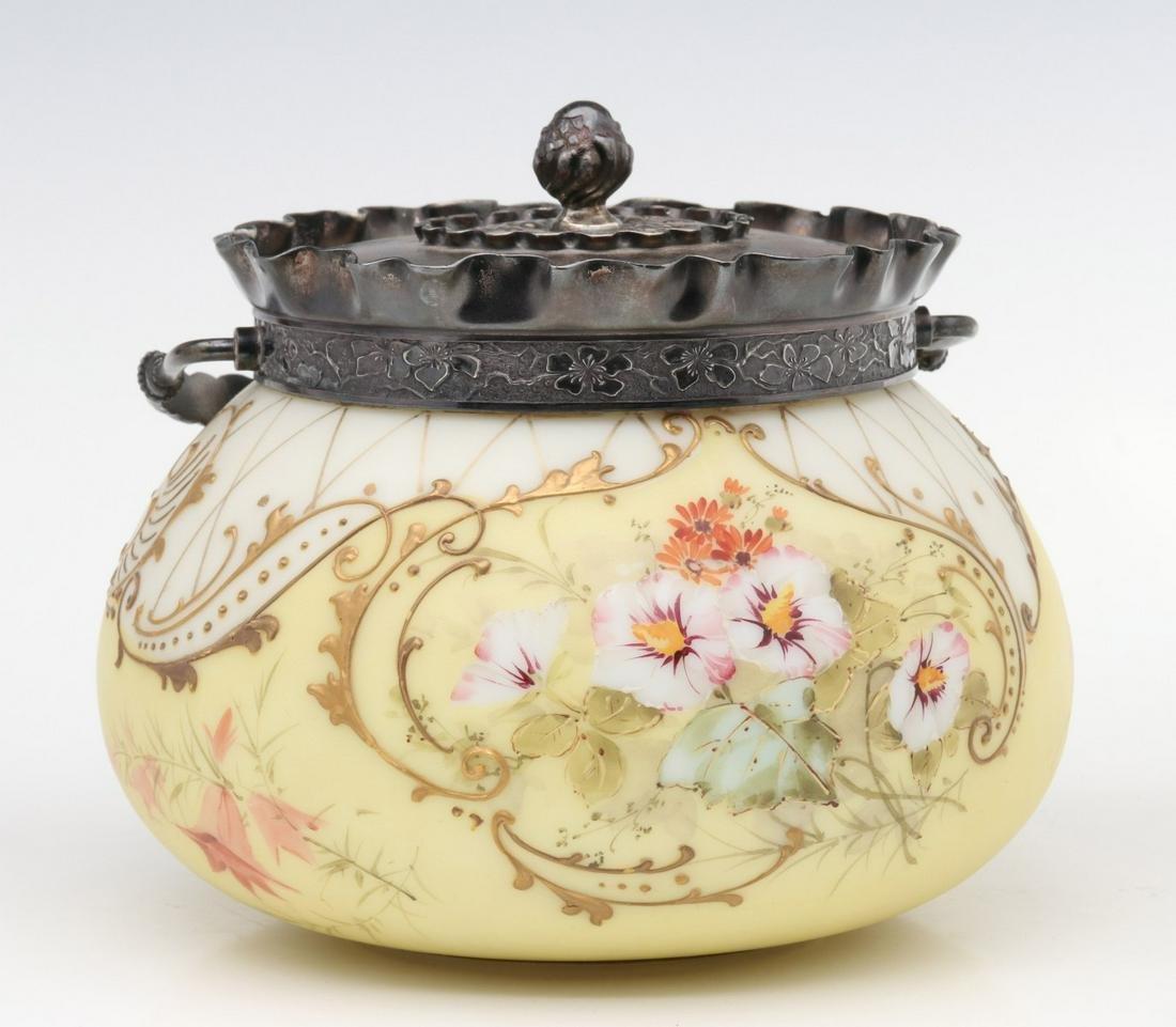 A MT. WASHINGTON CROWN MILANO ART GLASS BISCUIT JAR