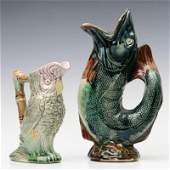 FIGURAL OWL AND FISH MAJOLICA POTTERY JUGS