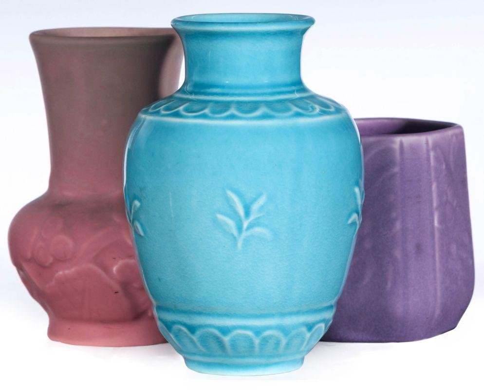 THREE ROOKWOOD ART POTTERY VASES