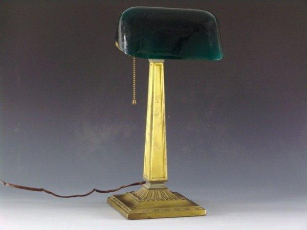 8: EMERALITE 1917 BRASS BANKERS LAMP W/ CASED SHADE