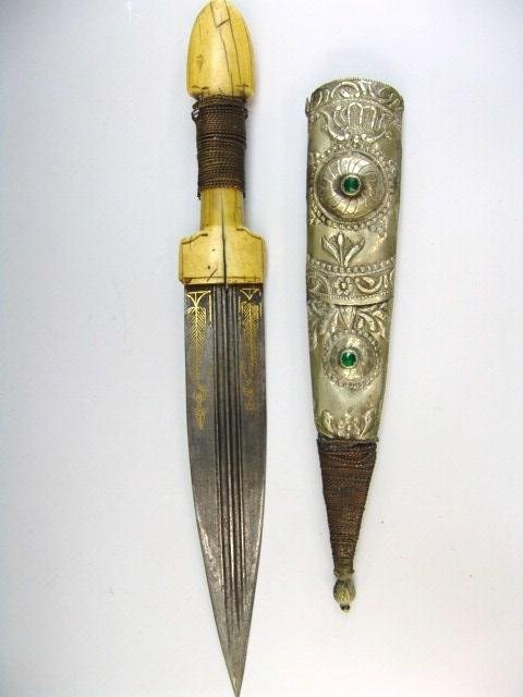10: IVORY HANDLE KINDJAL DAGGER WITH GOLD INLAY