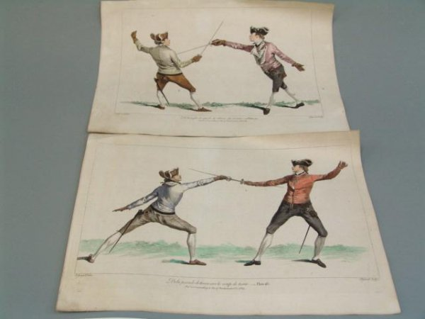 22A: 18TH C. HAND COLORED ENGRAVINGS OF FENCERS WITH SW