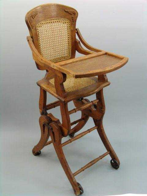 - 102: ANTIQUE OAK HIGH CHAIR W/ CANE SEAT