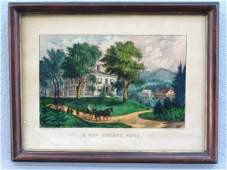 165 ORIG CURRIER  IVES  NEW ENGLAND HOME