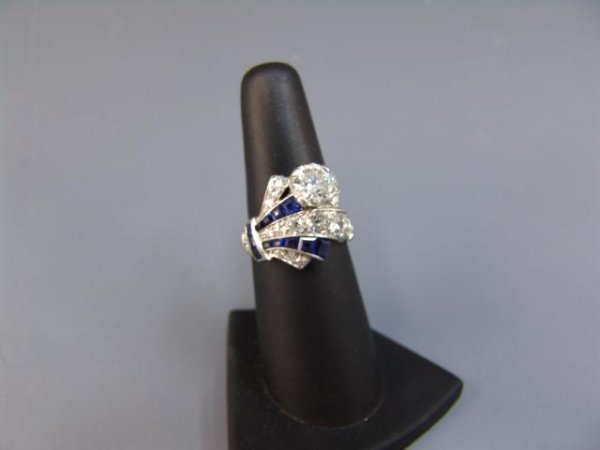 460A: LADY'S PLATINUM DIAMOND & SAPPHIRE COCKTAIL RING