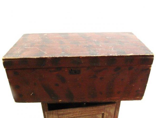 687: ANTIQUE PINE BOX WITH PAINT DECORATION