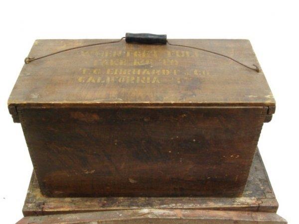 "688: ANTIQUE WHEAT BOX, ""RETURN TO CALIFORNIA MO"""