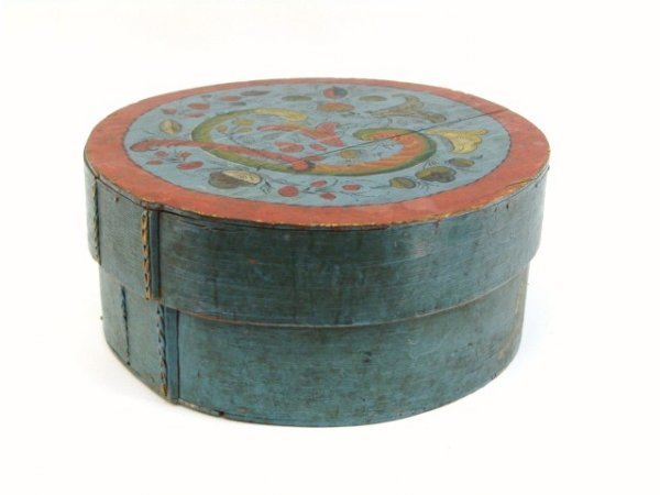 881: BEAUTIFUL 19th C. DECORATED BAND BOX IN OLD PAINT