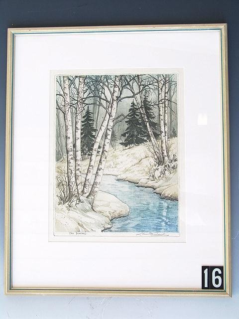 16: COLOR ETCHING BY WISCONSIN ARTIST LEON PESCHERET (1