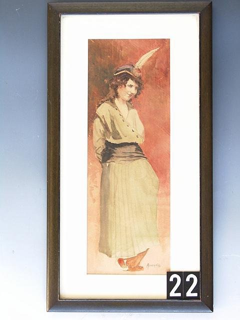 22: WATERCOLOR PAINTING OF A STANDING FIGURE
