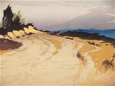 38: 1930'S COLOR WOODCUT BY OSCAR DROEGE (1898-1982) CA