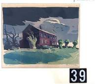 39 DESERTED A COLOR WOODBLOCK BY PRAIRIE PRINTMAKER