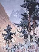 112 1930S COLOR WOODCUT BY OSCAR DROEGE 18981982 C