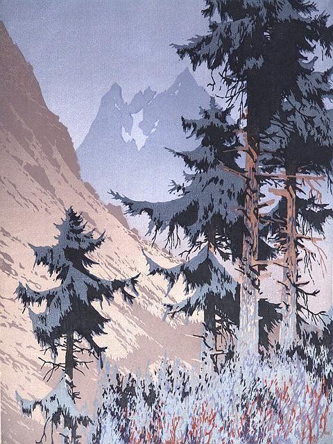 112: 1930'S COLOR WOODCUT BY OSCAR DROEGE (1898-1982) C