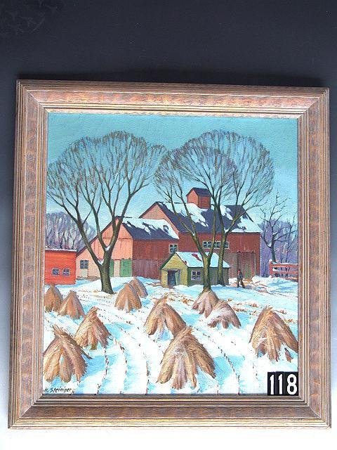 118: GREAT OIL ON CANVAS PAINTING TITLED MARCH SNOW