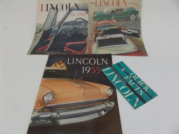 1009: 1952-1955 LINCOLN CATALOG BROCHURES