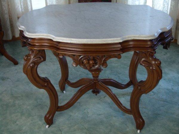 1235: EXCEPTIONAL LARGE FRUIT CARVED WALNUT PARLOR TABL