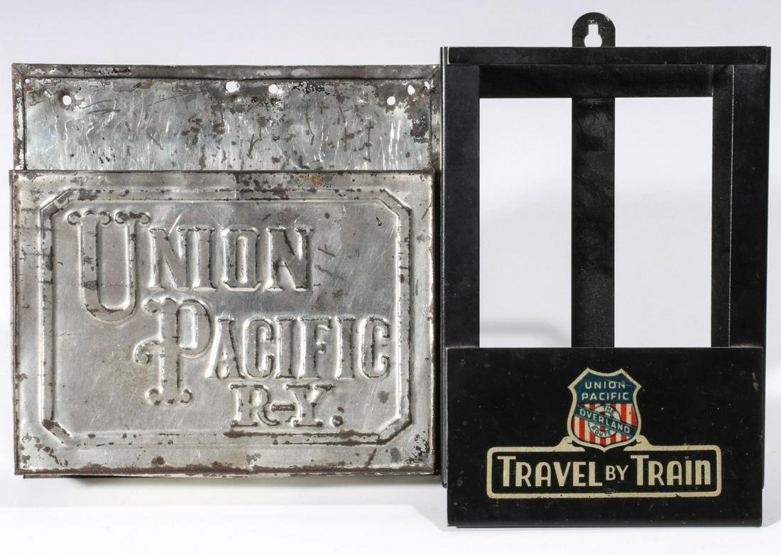 EARLY UNION PACIFIC R-Y TIMETABLE HOLDER, PLUS ANOTHER