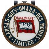 A GOOD ORIGINAL WABASH RR REVERSE PAINTED DRUMHEAD SIGN