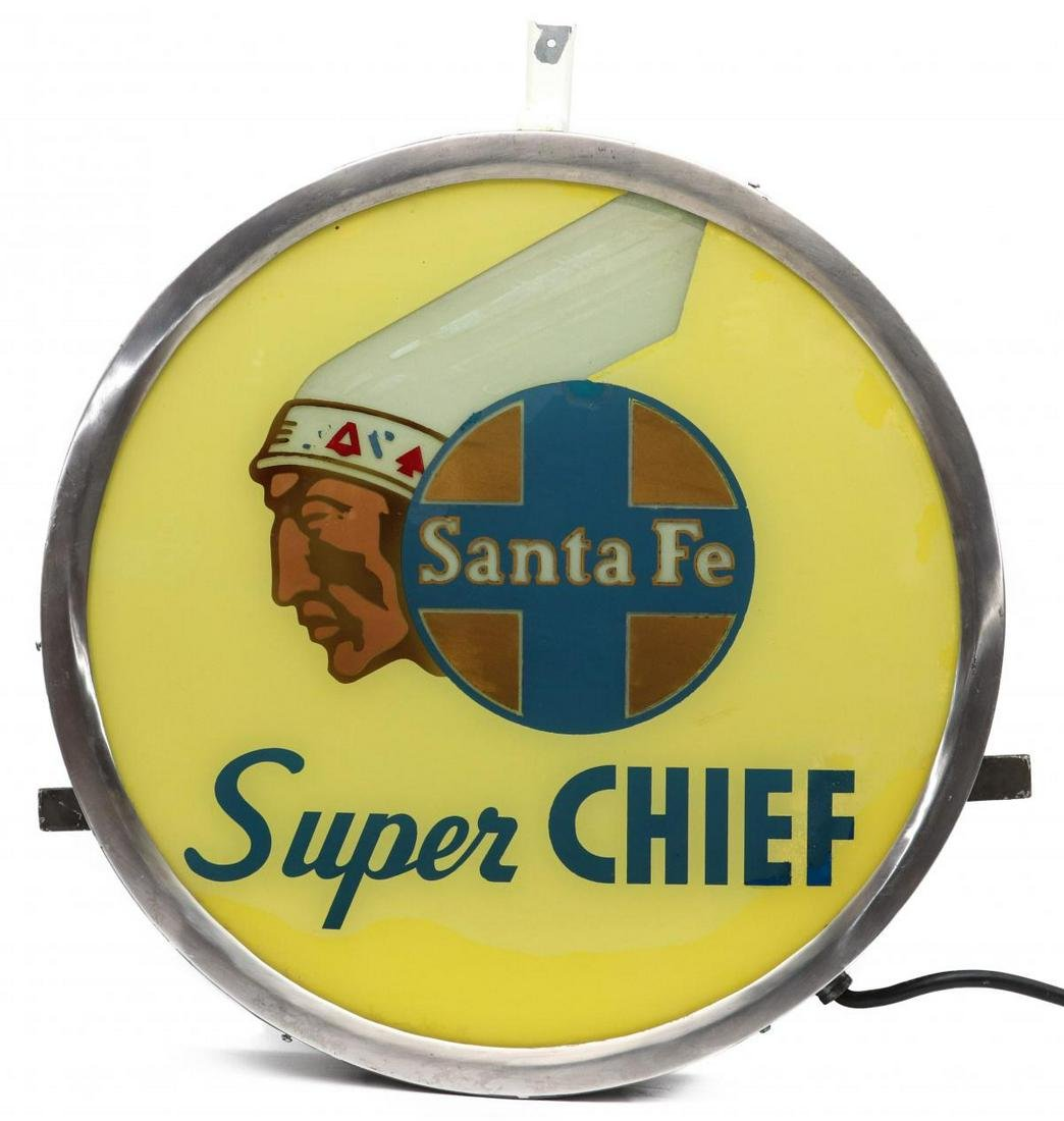 AN ORIGINAL SANTE FE SUPER CHIEF DRUMHEAD LIGHTED SIGN
