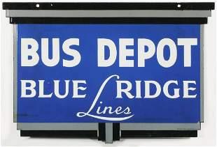 A RARE ART DECO 'BLUE RIDGE BUS LINES' PORCELAIN SIGN