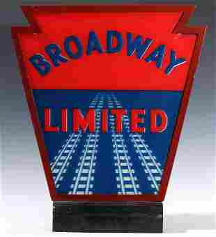 A PENNSYLVANIA RAILROAD BROADWAY LIMITED TAIL SIGN