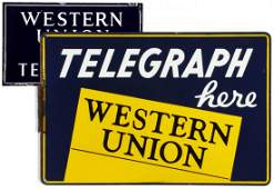 TWO WESTERN UNION PORCELAIN ENAMEL ADVERTISING SIGNS