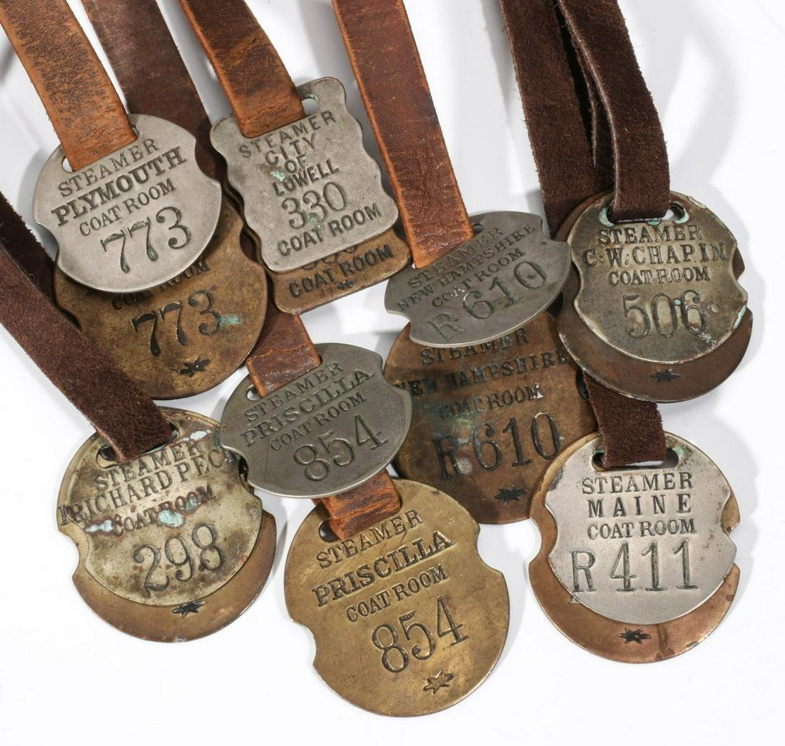A GREAT COLLECTION OF LONG ISL STEAMSHIP COAT ROOM TAGS