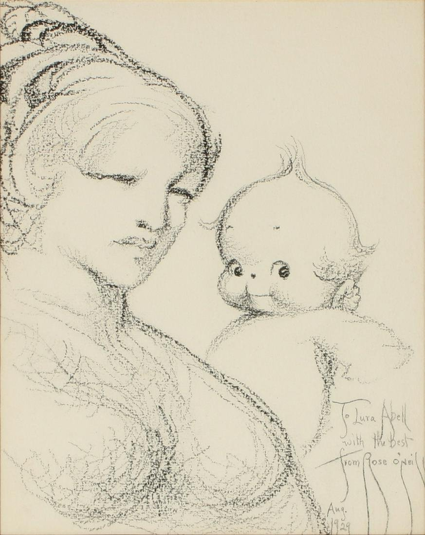 ROSE CECIL O'NEILL (1874-1944) CHARCOAL ON PAPER