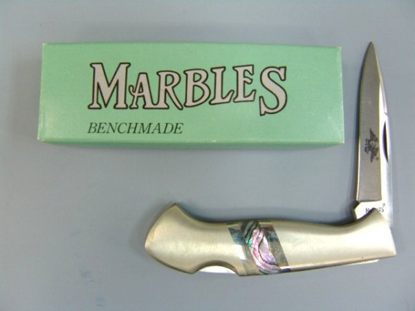 21: MARBLES EAGLE POCKET KNIFE WITH ABALONE