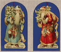 TWO VICTORIAN CHROMOLITHO DIECUT FATHER CHRISTMAS ADS