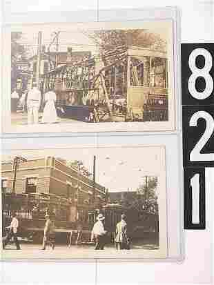 FIVE REAL PHOTO POST CARD SET, 1918 TROLLEY STRIKE