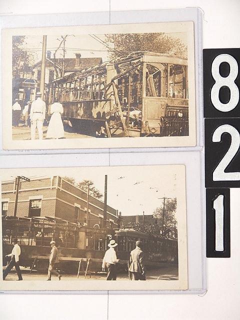 821: FIVE REAL PHOTO POST CARD SET, 1918 TROLLEY STRIKE