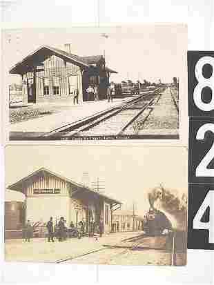 4 KANSAS REAL PHOTO RAILROAD DEPOT POST CARDS