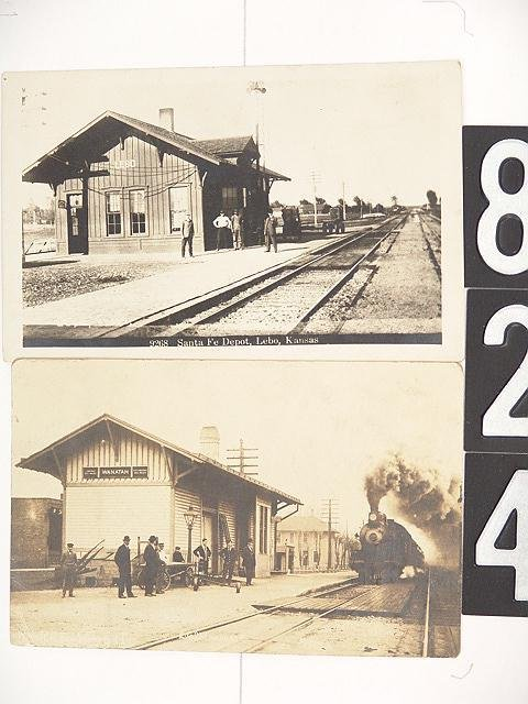 824: 4 KANSAS REAL PHOTO RAILROAD DEPOT POST CARDS