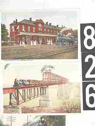 LOT OF 17 POST CARDS MISSOURI DEPOTS AND TRAINS