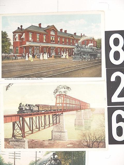 826: LOT OF 17 POST CARDS MISSOURI DEPOTS AND TRAINS