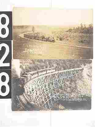 THREE RAILROAD VIEW REAL PHOTO POST CARDS
