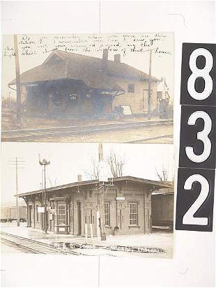 TWO INDIANA DEPOT REAL PHOTO POST CARDS
