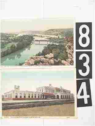 16 POST CARD LOT OF MISSOURI DEPOTS AND TRAINS