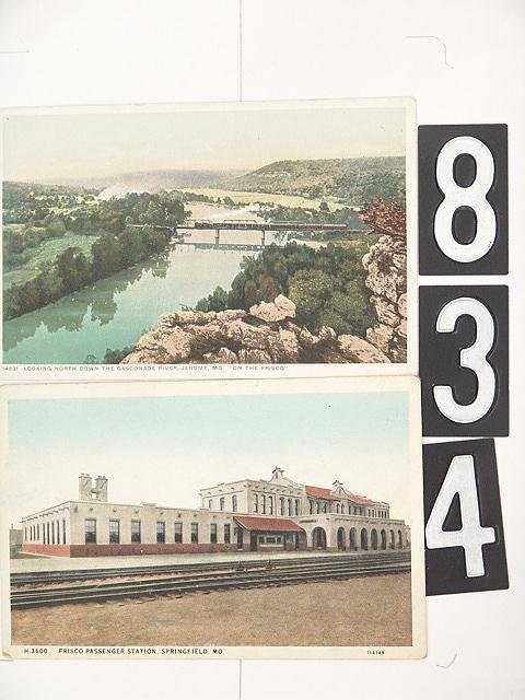 834: 16 POST CARD LOT OF MISSOURI DEPOTS AND TRAINS